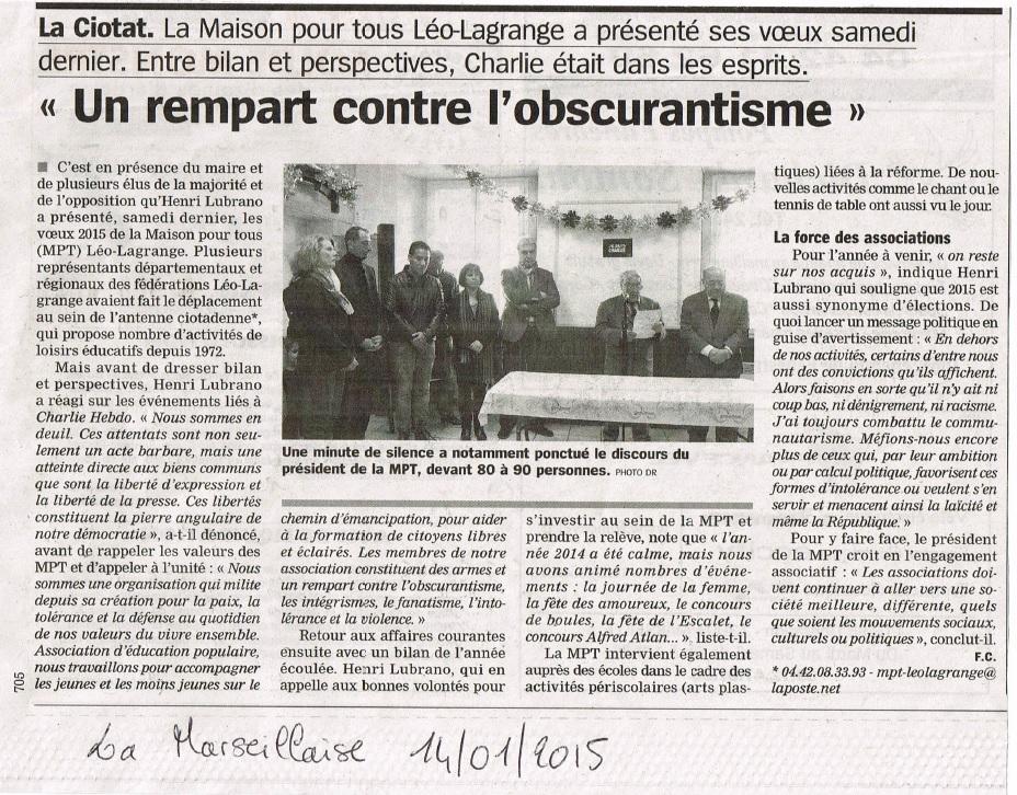 Presse voeux 2015 la marseillaise