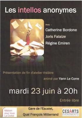 Affiche théâtre Les intellos anonymes